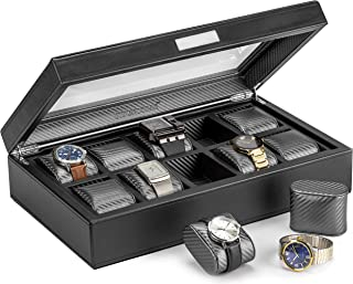 HOUNDSBAY Mariner Oversize Watch Box Display Case | Luxury Carbon Fiber Pattern Interior with 10 Wide Watch Slots to Hold Big Face Watches (Black)