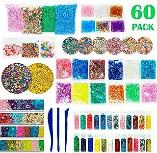RockTown Toys Slime Supplies Kit Stuff - 60 PCS Foam Beads & Balls, Glitter, Fruit Slices, | Add Ins for Slime & Floam | Supply Kit for Slime Parties | Fun & Educational for Boys & Girls