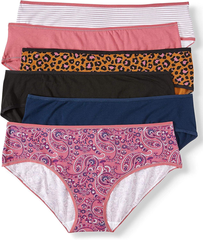 Secret Treasures Women's Plus Cotton Fashion Hipster Panties, 6 Pack