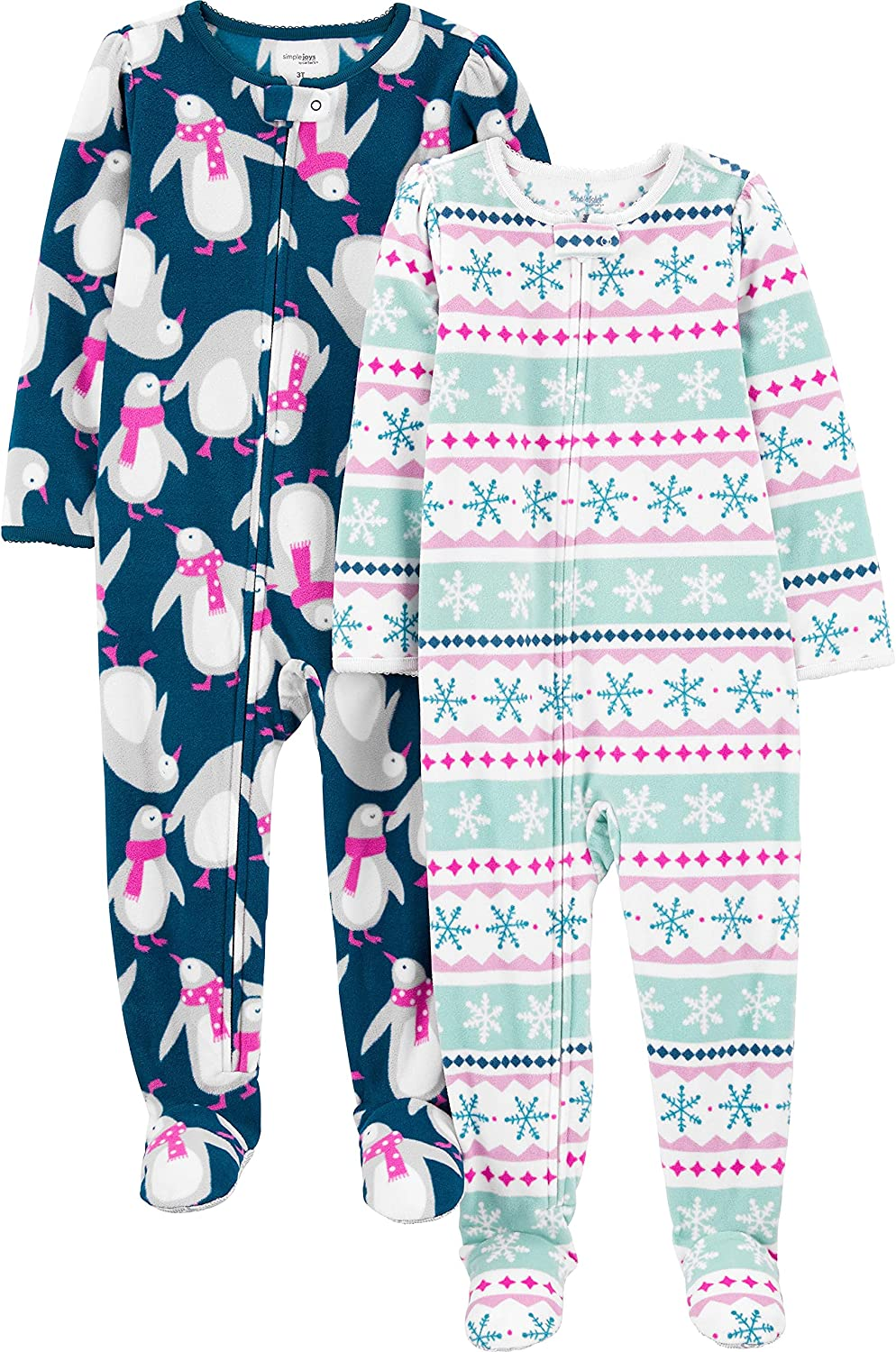 Simple Joys by Carter's Baby, Toddler, and Little Girls' 2-Pack Loose-fit Fleece Footed Pajamas