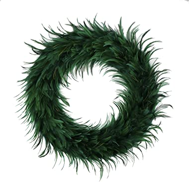 "Hackle Peacock Feather Christmas Wreath - 24"" Green Farmhouse Autumn or Fall Decor"