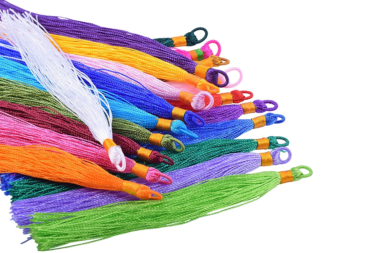 KONMAY 40pcs Mixed Colors 4.0''(10.0cm) Tiny Tassels with Loop for Bookmark Gift Card Making