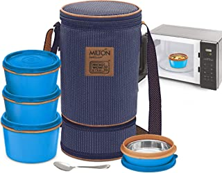 MILTON Bento Lunch Box Set -4 MICROWAVEABLE Stainless Steel Meal Prep Containers, Expandable Insulated Lunch Bag, SS Spoon Double Wall Food Storage Boxes w/Leak Proof Lids For Men,Women,Kids