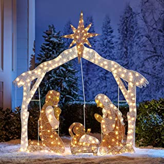 lighted plastic nativity sets outdoor