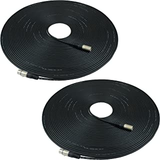 GLS Audio 100ft Mic Cable Patch Cords - XLR Male to XLR Female Black Microphone Cables - 100' Balanced Mike Snake Cord - 2 Pack