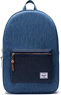 Herschel Settlement Backpack with 15'' Laptop Sleeve and Front Storage Pocket, Faded Denim/Indigo Denim, Classic 23L
