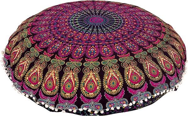 Shubhlaxmifashion 32 紫色曼达拉地板抱枕坐垫垫套嬉皮士装饰波西米亚奥斯曼 Poufs Pom Pom 枕套 Boho 印度