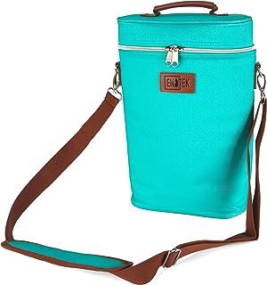 Enotek ワインバッグ | ワインキャリア 2ボトル | 断熱ワイントートバッグ | ワイントラベルバッグ | ワインクーラーバッグ | ワイントートとキャリア | 旅行用ワインバッグ | 漏れ防止ワインパース | ボトル2本 - ターコイズ