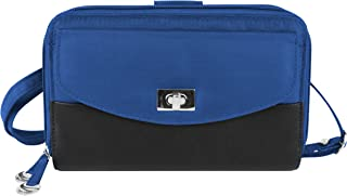 Travelon Safe Id Accent Double Zip Clutch Wallet, Cobalt, One Size