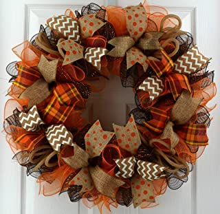 Wreaths for Fall | Brown Orange Burlap Fall Thanksgiving Deco Mesh Door Wreath; Yellow White : F3