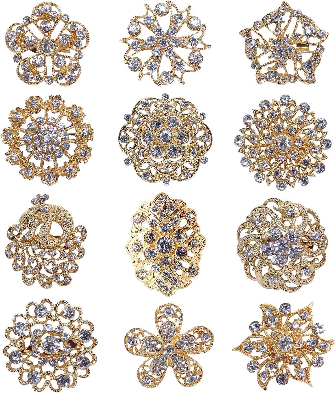 TOOKY Pulsante 12pcs allingrosso del lotto Oro Argento Cristallo Spille Sciarpe Fibbia Spilla Pin Collare strass Corpetto Bouquet Kit fai da te