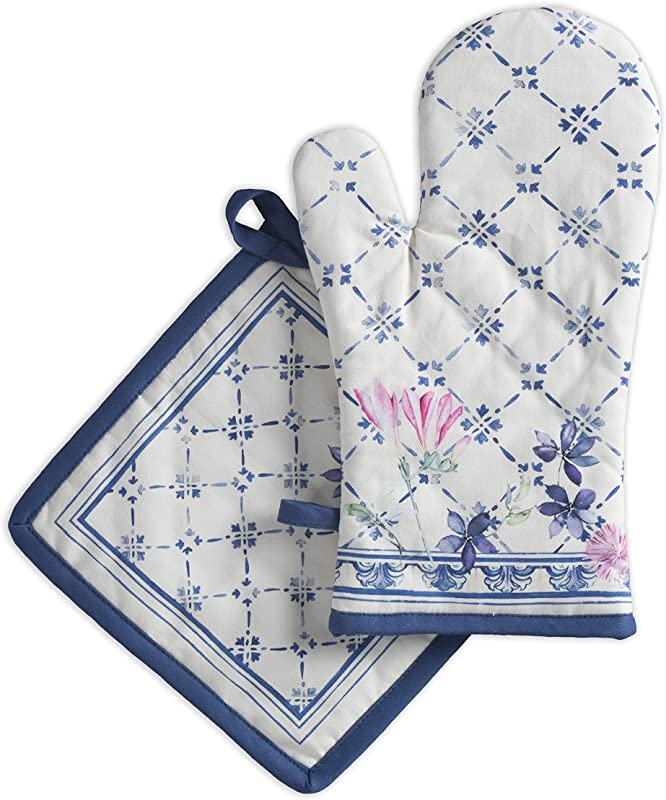 Maison D Hermine Fa Ence 100 Cotton Set Of Oven Mitt 7 5 Inch By 13 Inch And Pot Holder 8 Inch By 8 Inch
