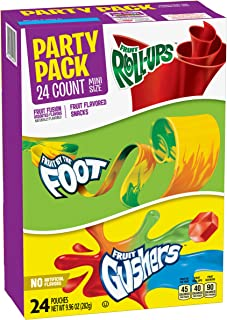 Betty Crocker Party Pack Variety Pack of Mini Size Fruit Roll-Ups Fruit By The Foot and Gushers 24 ct Pouches