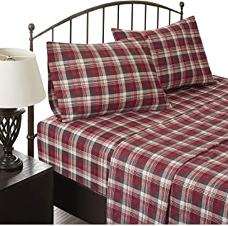 Woolrich Cozy Soft 100% Cotton Flannel Warm Ultra Soft Cold Weather 4 Piece Sheet Set, King Size, Red Plaid
