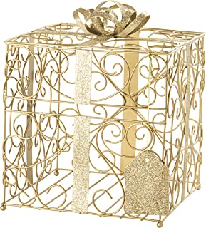 Cathy's Concepts Reception Gift Card Holder – Gold, Metal Construction, Glitter Accents, Perfect for Weddings, Graduations & More