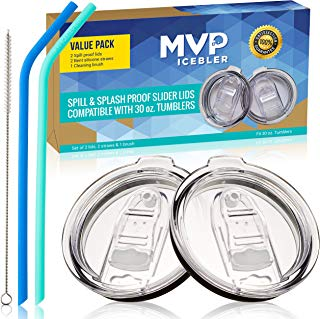 2 SPILL PROOF 30 oz Sliding Lids, NO LEAK Slider Replacement 2 Lids for Tumbler w/New Air Flow Vent Hole, Compatible with Old Rtic Lid, Yeti Lid & Ozark Lid, w/ 2 Straws and a Brush, by MVP ICEBLER