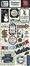 Echo Park Paper Company Warm & Cozy 6x13 Phrases chipboard, green, red, navy, blue, woodgrain