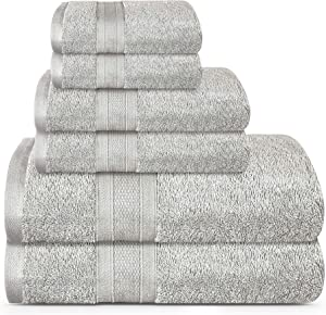 TRIDENT Soft and Plush, 100% Cotton, Highly Absorbent, Bathroom Towels, Super Soft, 6 Piece Towel Set (2 Bath Towels, 2 Hand Towels, 2 Washcloths), 500 GSM, Silver