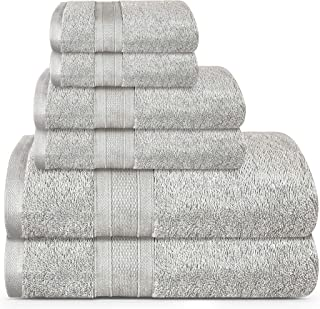 TRIDENT Soft and Plush, 100% Cotton, Highly Absorbent, Bathroom Towels, Super Soft, 6 Piece Towel Set (2 Bath Towels, 2 Ha...
