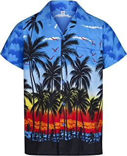 7d7bb9c0b667 Mens Hawaiian Shirt Short Sleeve STAG Beach Holiday Palm Tree Fancy Dress  Hawaii