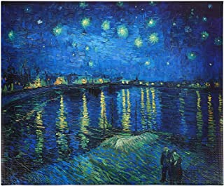 VOSAREA Gogh Art Painting Starry Night Over The Rhone Oil Painting Wall Art Canvas Prints Print of Gogh Oil Paintings Repr...