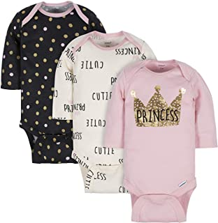 GERBER Baby Girls' 3-Pack Long-Sleeve Onesies Bodysuit