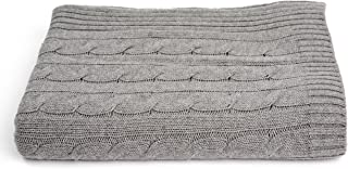 a & R Cashmere 200HG Cashmere & Wool Blend Cable Knit Throw, Heather Grey