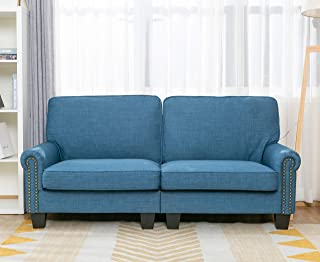 70 Inch Sofa for Living Room,Sofa loveseat Soft and Easily Assemble Couch Blue Upholstered,by LifeFair