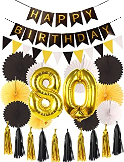 80th Birthday Party Decorations KIT | Happy Birthday Black Banner, 80th Gold Number Balloons, Gold and Black, Number 80, Perfect 80 Years Old Party Supplies
