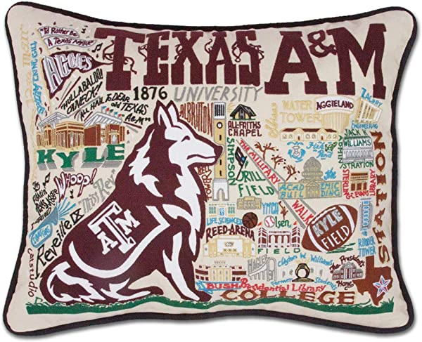 Catstudio Texas A M University Collegiate Embroidered Decorative Throw Pillow Beautiful Award Winning Home Decor Artwork Great For The Living Family Bed Rooms