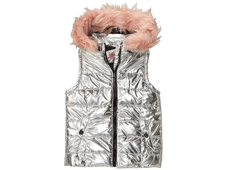 Urban Republic Kids Gal Metallic Foil Vest w/ Colored Faux Fur (Little Kids/Big Kids) (Silver) Girl