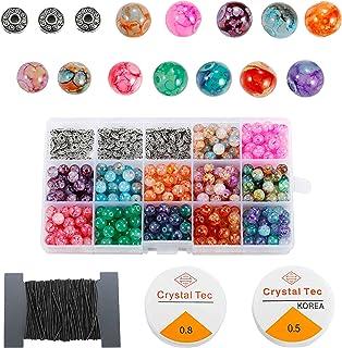 LABOTA 360pcs Craquele Perles de Verre 8 mm avec Bracelet de Cristal String Perles Spacer pour fabrication de bracelets ou...