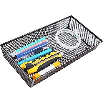 """Finnhomy Mesh Drawer Organizer and Shelf Storage Bins School Supply Holder Office Desktop Cabinet Brown 6"""" x 12"""""""