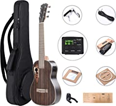 Left Handed - 30 inch Caramel 6 Strings CB904GL Ebony wood LCD color display Electric Ukulele Guitalele Travel Guiatr Come with Padded Gig Bag, Strap and hanger and strings Set