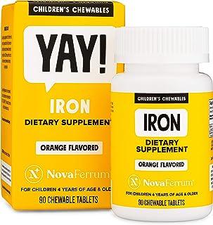 NovaFerrum Chewable Iron Supplement for Kids, 18 mg Elemental Iron, Sugar Free, Vegan, Gluten Free, Orange Flavor (90 Count)
