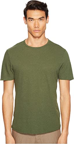 Raw Hem Short Sleeve Linen Blend Crew Neck T-Shirt
