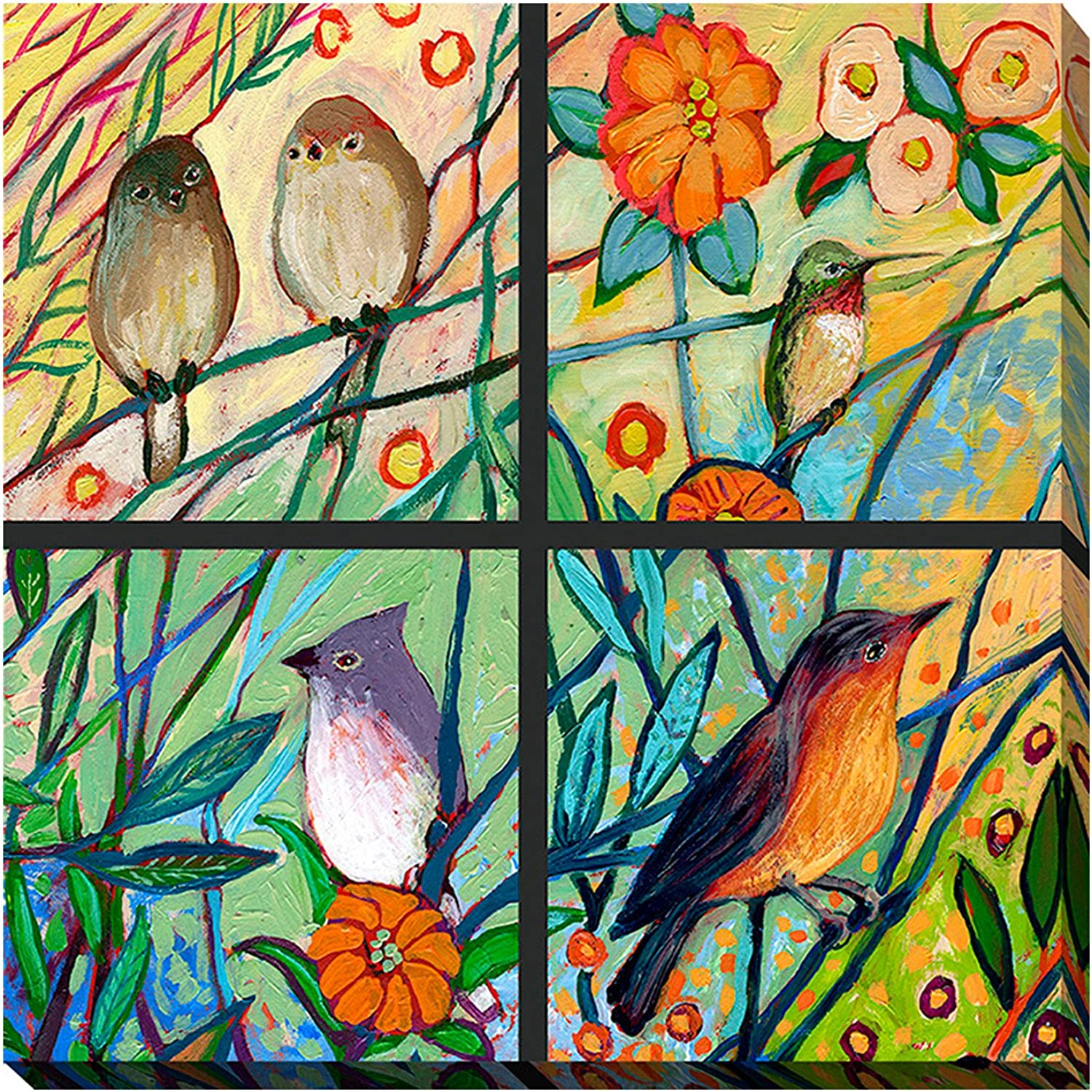 Picture Perfect International Giclee Stretched Wall Art by Jennifer Lommers Bird Quadrant III Artists-Canvas 18  x 18  x 1
