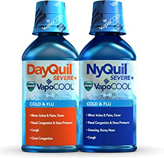 DayQuil and NyQuil Severe with Vicks VapoCOOL Cough, Cold & Flu Relief Liquid, 2x12 Fl Oz Combo - Relieves Sore Throat, Fever, and Congestion, Day or Night