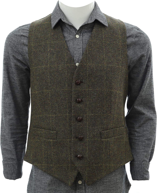 Biddy Murphy Wool Vest Men Irish Vest Full Back 100% Wool from Ireland Green Plaid L