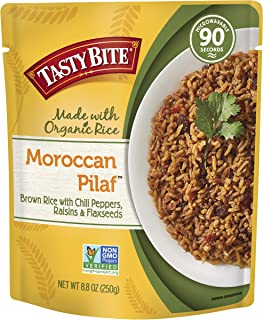 Tasty Bite Rice Moroccan Pilaf 8.8 Ounce (Pack of 6), Fully Cooked Moroccan Entrée with Brown Rice Blended with Red Chiles Raisins and Flaxseeds, Vegetarian, All Natural, Microwaveable, Ready to Eat