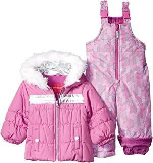 London Fog Baby Girls Snowsuit with Snowbib and Puffer Jacket, Pink/Purple Blossom 24MO