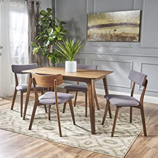 Christopher Knight Home Meanda Mid Century Finished 5 Piece Wood Dining Set Fabric Chairs, Natural Walnut/Dark Grey