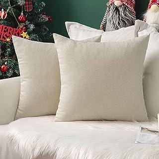 MIULEE Weihnachten 2er Pack Home Dekorative Kissenbezug leinenkissen Kopfkissenbezug Leinen Kiessehülle sofakissen für Sofa Schlafzimmer mit Reißverschlüsse 40x40 cm Kissenbezüge Creme Weiß