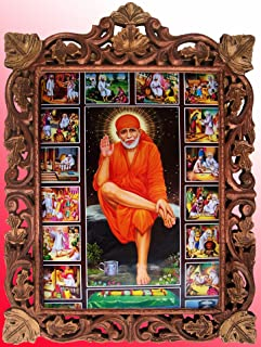 Lord Sai Baba in Various Occassions Poster Painting in Wood Craft Frame