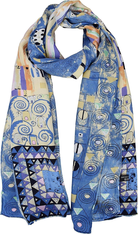 ELEGNA Luxurious 100% Silk Scarf Shawl with Hand Rolled Edge Gustav Klimt Fregio_Stoclet