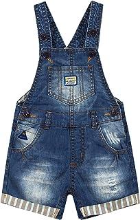 شورت كيدز كول سبيس للأطفال والصغار بصدرية كبيرة جيب بنمط شارع مع أشرطة تنحنح ممزق أزياء الدنيم القصير