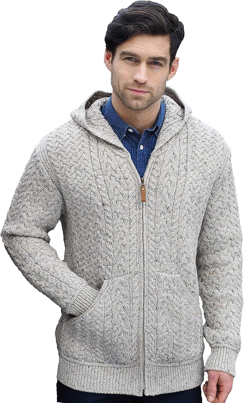 Mens Charcoal Merino Wool Half Zip Aran Sweater Made in Ireland x4295