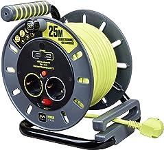 Masterplug Pro-XT robust L Kabeltrommel mit 2 Steckdosen, 25 m, 2x USB-A-Buchsen mit maximal 2.1 A, Schalter und Thermoschutz, 1 Stück, OMG25162USL-PX