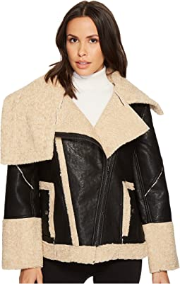 Blank NYC - Bonded Jacket with Faux Fur Shearling in Oatmeal Raison