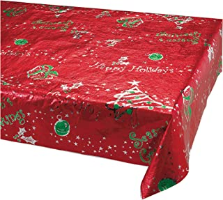 Creative Converting 6-Count Metallic Table Covers, Red